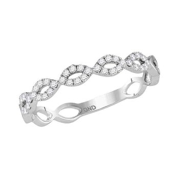14kt White Gold Womens Round Diamond Twist Stackable Band Ring 1/5 Cttw