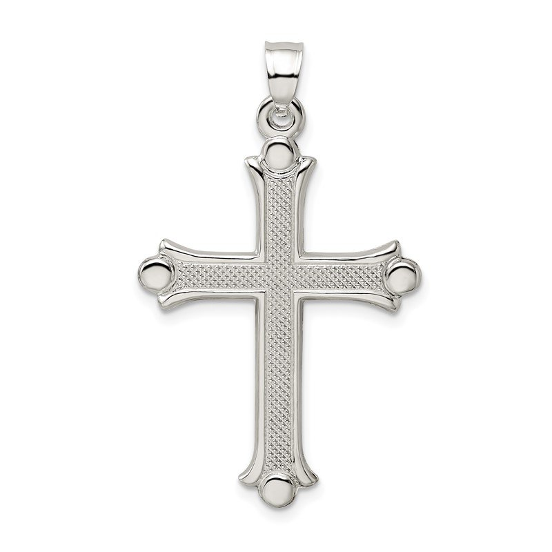 Quality Gold Sterling Silver Textured Budded Cross Pendant