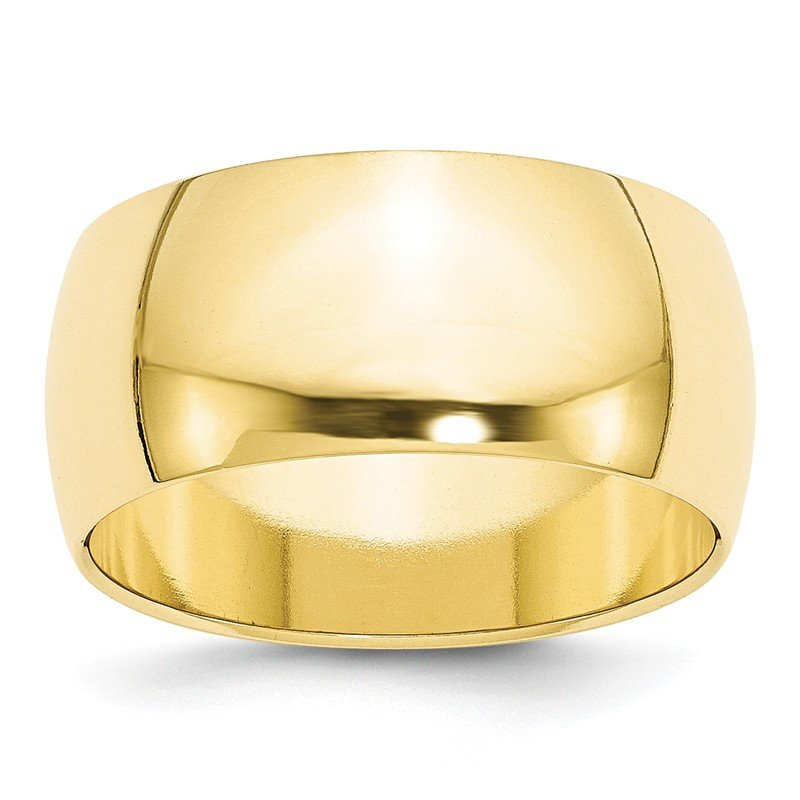 Quality Gold 10KY 10mm Half Round Band Size 10