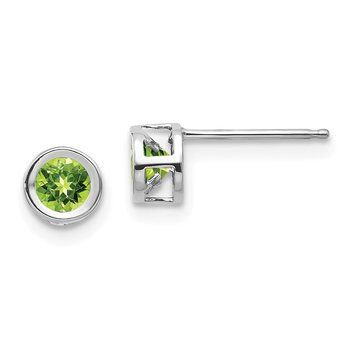 14k White Gold 4mm Bezel August/Peridot Post Earrings