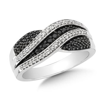Pave set, Swirl Design, Black and White Diamond Fashion Ring in 10k White Gold (3/8ct. tw.)