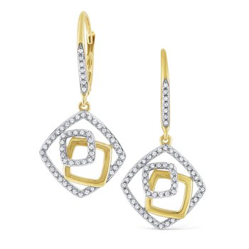 14K Diamond Geometric Earrings