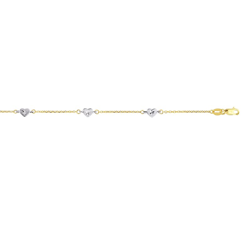 Royal Chain 14K Two-tone Gold Heart Station Anklet