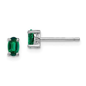 Sterling Silver Rhodium-plated 5x3mm Oval Created Emerald Post Earrings