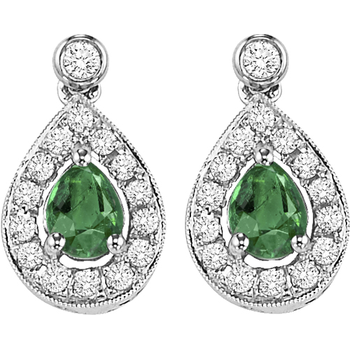 14K White Gold Color Ensembles Halo Prong Emerald Earrings 1/6CT