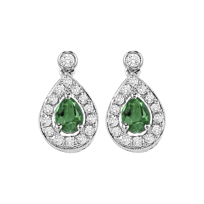 Gems One 14K White Gold Color Ensembles Halo Prong Emerald Earrings 1/6CT