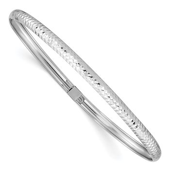 14k White Gold Textured Flexible Bangle