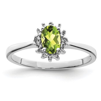 Sterling Silver Rhodium Peridot Diamond Ring
