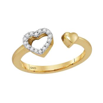 10kt Yellow Gold Womens Round Diamond Bisected Heart Ring 1/10 Cttw