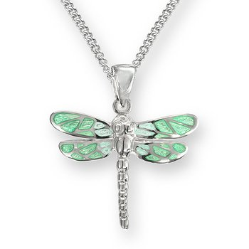 Green Dragonfly Necklace.Sterling Silver