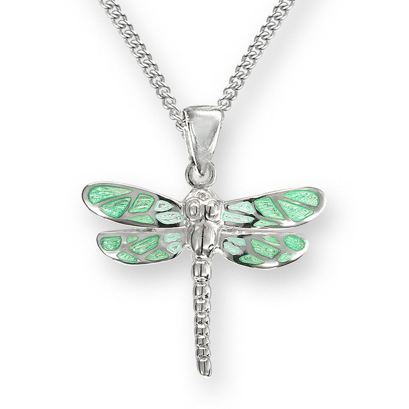 Nicole Barr Designs Green Dragonfly Necklace.Sterling Silver
