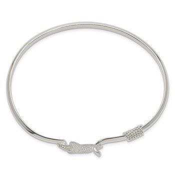 Sterling Silver Polished and Textured Starfish Bangle