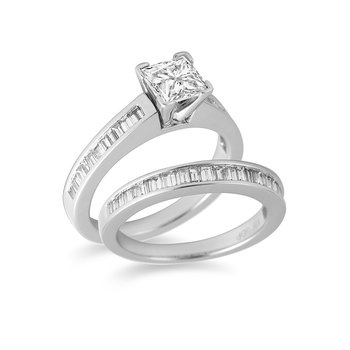18K WG & PD Diamond Engagement and Wedding Band