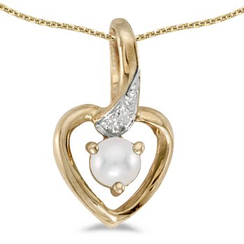 14k Yellow Gold Freshwater Cultured Pearl And Diamond Heart Pendant