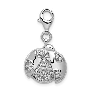 Sterling Silber Rhodium-plated CZ Ladybug with Lobster Clasp Charm