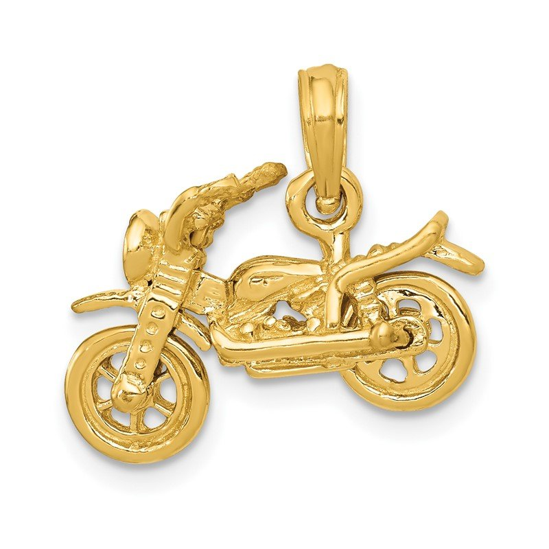 Quality Gold 14k 3-D Moveable Motorcycle Pendant