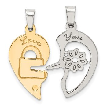 Sterling Silver Ruthenium & Goldtone Heart/Key Breakapart Pendant