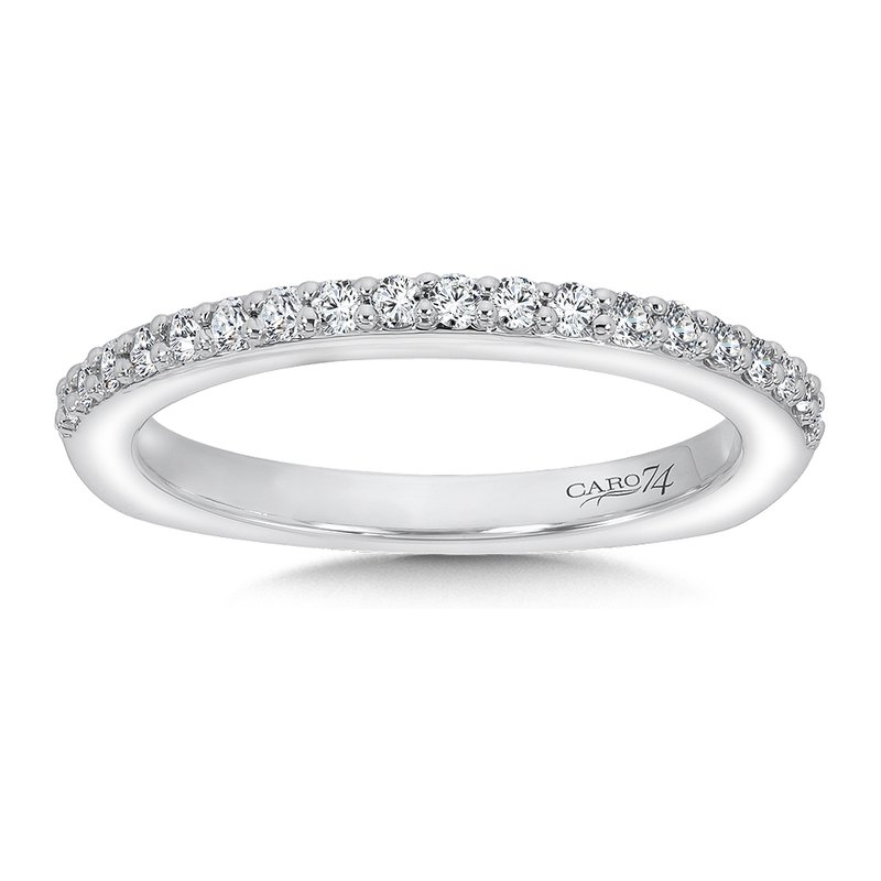 Caro74 Diamond and 14K White Gold Wedding Ring