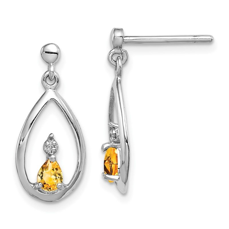 Quality Gold Sterling Silver Rhodium Pear Citrine & Diamond Post Earrings