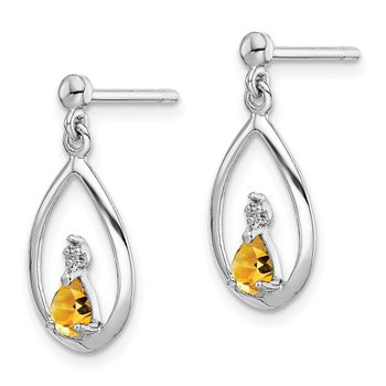 Sterling Silver Rhodium Pear Citrine & Diamond Post Earrings