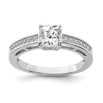 Sterling Silver Rhodium-plated & CZ Ring