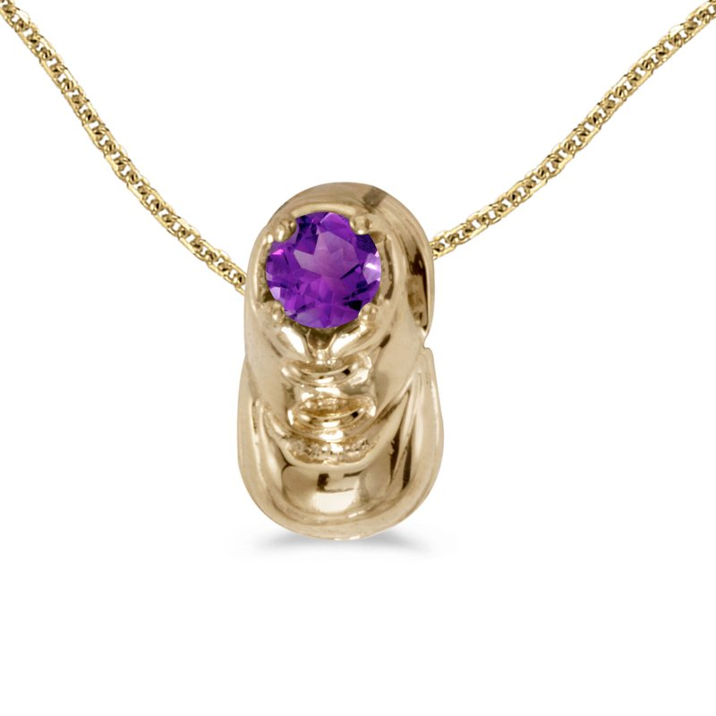 Color Merchants 14k Yellow Gold Round Amethyst Baby Bootie Pendant