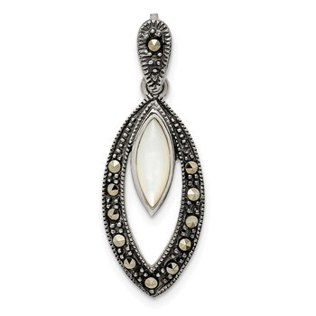 Sterling Silver Marcasite & Mother of Pearl Pendant