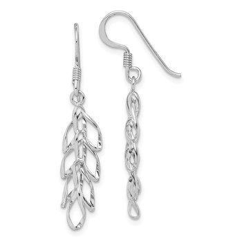 Sterling Silver Rhodium-plated Leaves Dangle Earrings