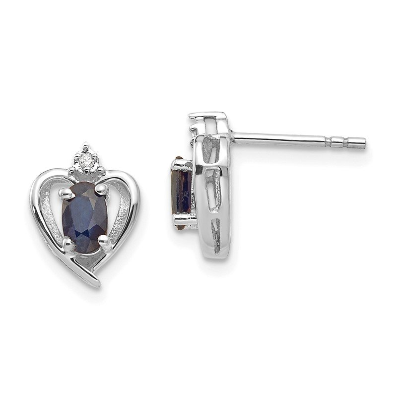 Quality Gold 14k White Gold Sapphire and Diamond Heart Post Earrings