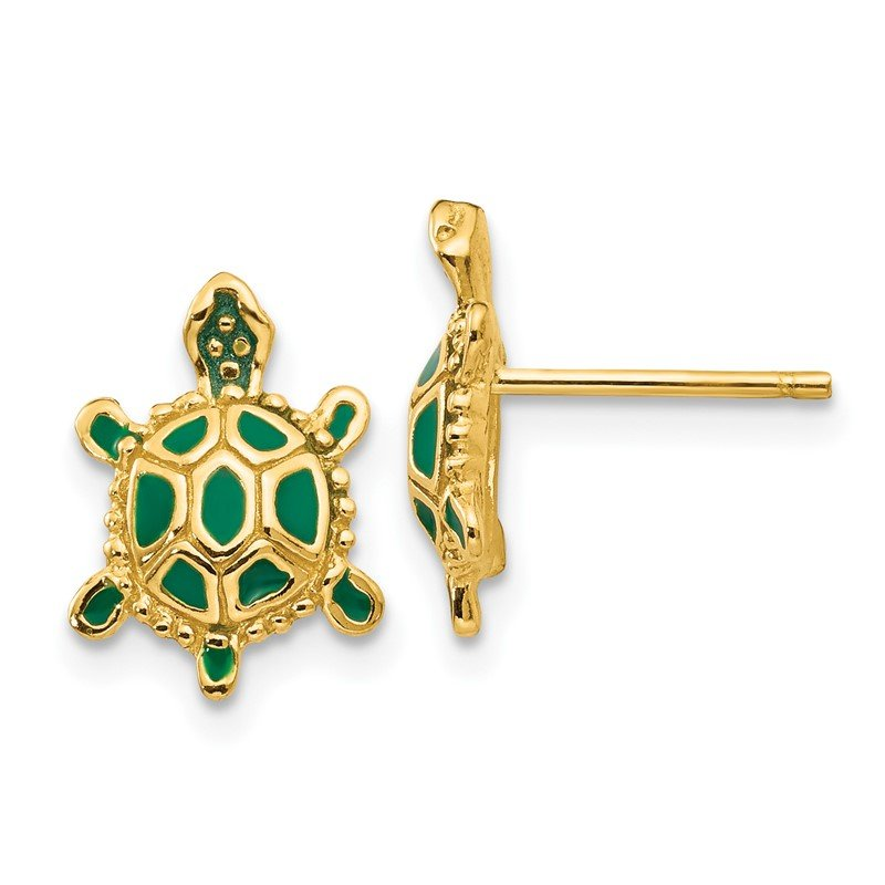 Quality Gold 14k Green Enameled Turtle Post Earrings
