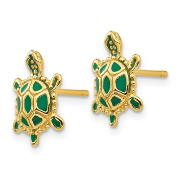 14k Green Enameled Turtle Post Earrings