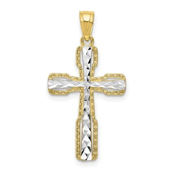 10k & Rhodium Diamond-Cut Cross Pendant