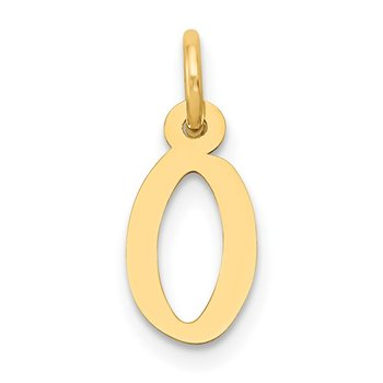 14k Small Slanted Block Letter O Initial Charm