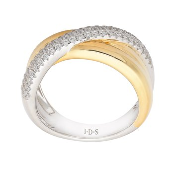 Diamond Two Tone Criss Cross Ring