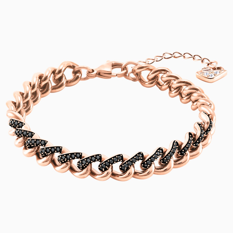 Swarovski Lane Bracelet, Black, Rose-gold tone plated