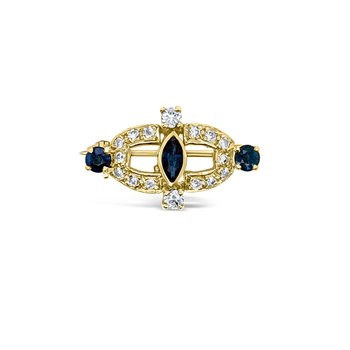 Yellow Gold Diamond Natural Blue Sapphire Brooch