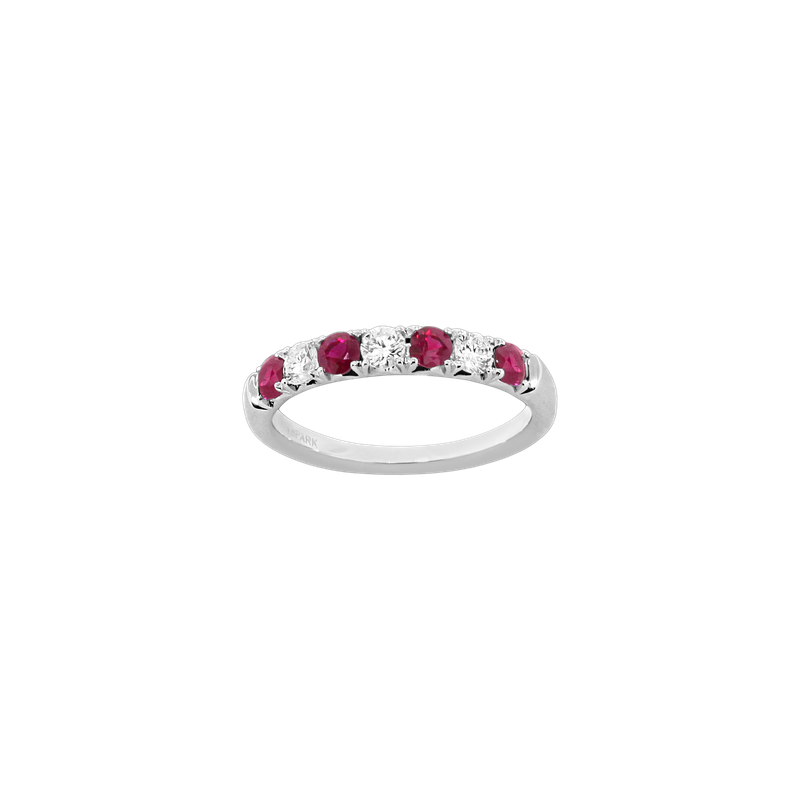 Spark Creations Alternating Diamond & Ruby Band