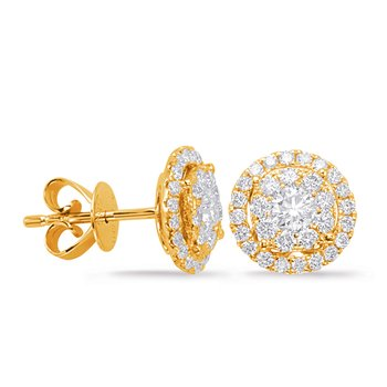 Yellow Gold Diamond Earring 1cttw
