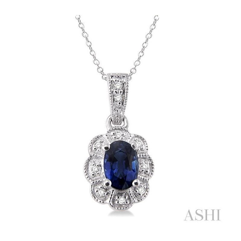 ASHI oval shape silver gemstone & diamond pendant