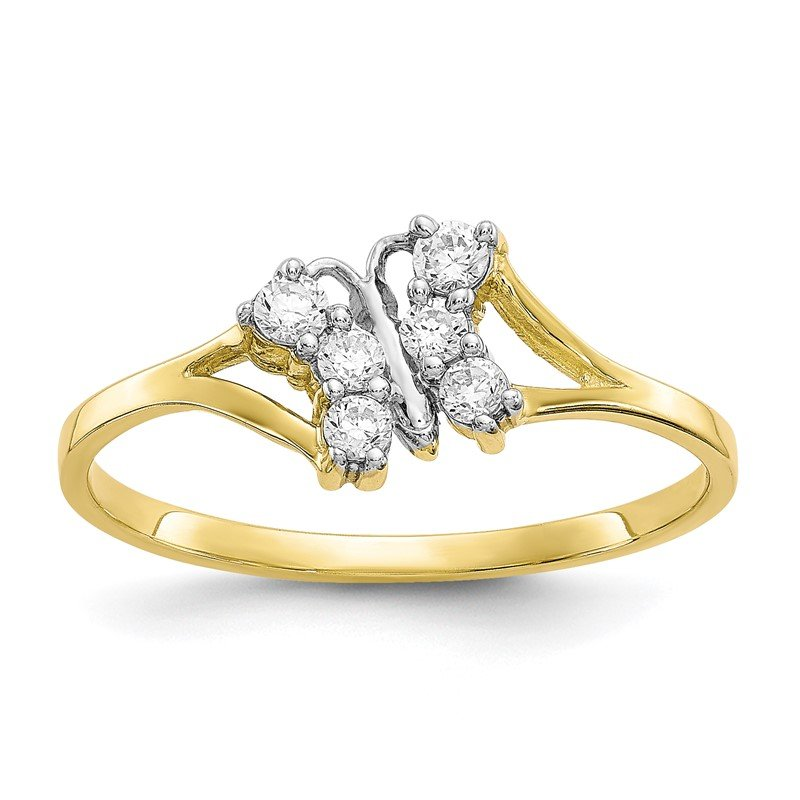 Quality Gold 10K w/Rhodium CZ Butterfly Ring