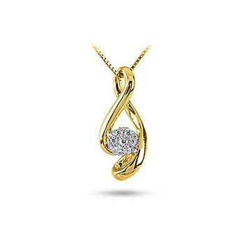 10K YG Cluster Diamond Infinity Slider Pendant in Prong Setting