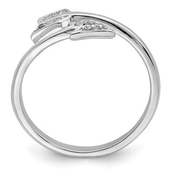 Sterling Silver Rhodium-plated Polished CZ Arrow Ring