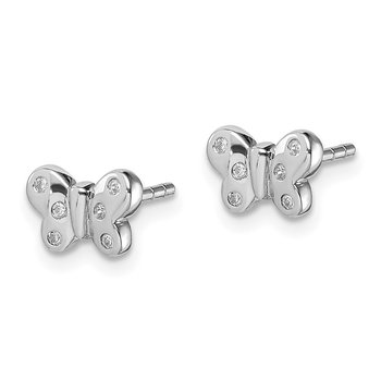 Sterling Silver Rhodium-plated Childs CZ Butterfly Post Earrings