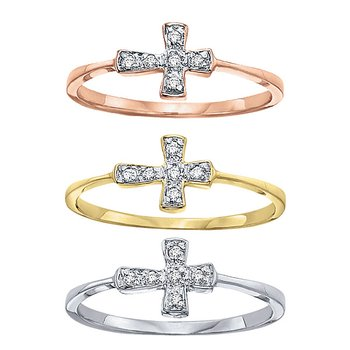Diamond Sideways Cross Ring in 14k White, Yellow and Rose Gold with 6 Diamonds weighing .04ct tw