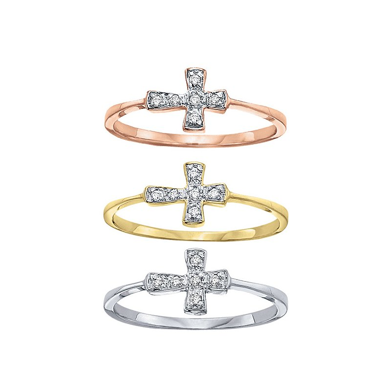 KC Designs Diamond Sideways Cross Ring in 14k White, Yellow and Rose Gold with 6 Diamonds weighing .04ct tw