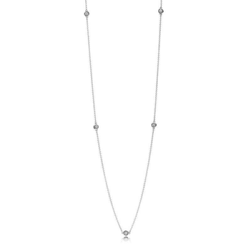 PANDORA Dazzling Dainty Droplets Necklace, Clear CZ