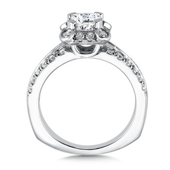 Geometric shape halo .52 ct. tw., 1 ct. Asscher cut center