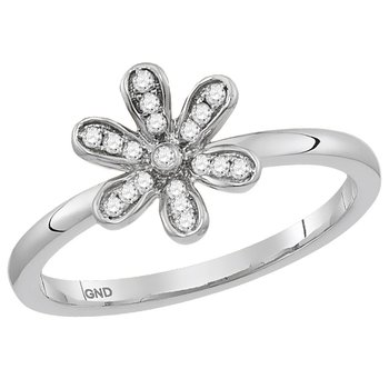 10kt White Gold Womens Round Diamond Floral Stackable Band Ring 1/8 Cttw