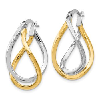 Leslie's 14K White with Yellow Rhodium D/C Twisted Hoop Earrings