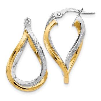 Leslie's 14k White with Yellow Rhodium Polished & D/C Twisted Hoop Earrings